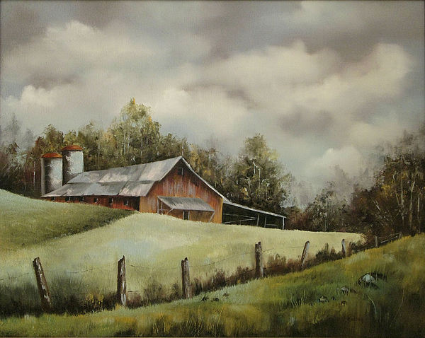 Barn Painting - The Barn And The Sky by Jerry Kelley