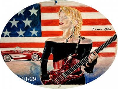 Drawing Drawing - The Bass Player      Laurie Miller Prominent Seattle Bassist by James Beal
