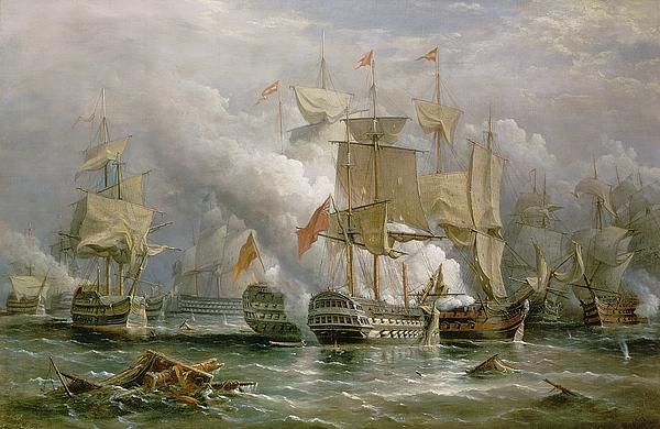 Cloud Painting - The Battle Of Cape St Vincent by Richard Bridges Beechey