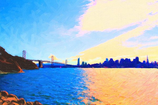 San Francisco Photograph - The Bay Bridge And The San Francisco Skyline by Wingsdomain Art and Photography