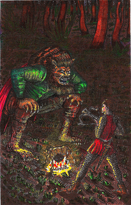 Forest Drawing - The Beast And Prince Meet by Al Goldfarb
