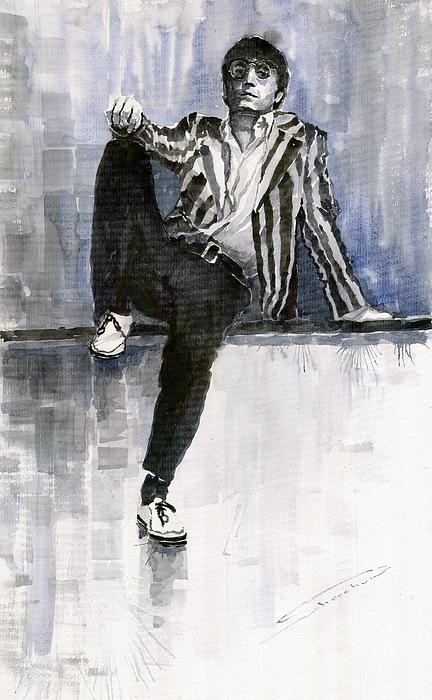 Watercolour Painting - The Beatles John Lennon Reflection by Yuriy  Shevchuk