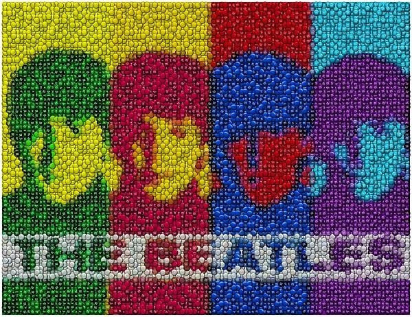 The Beatles Digital Art - The Beatles Mm Candy Mosaic by Paul Van Scott