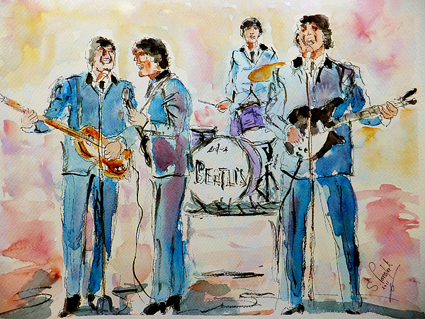 Beatles Painting - The Beatles by Steven Ponsford