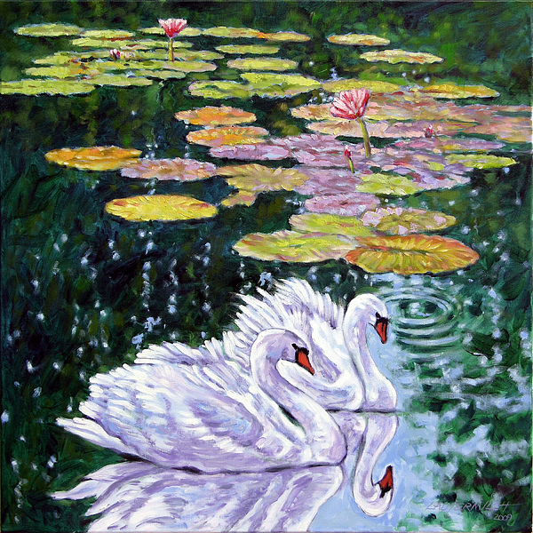 Swans Painting - The Beauty Of Peace by John Lautermilch