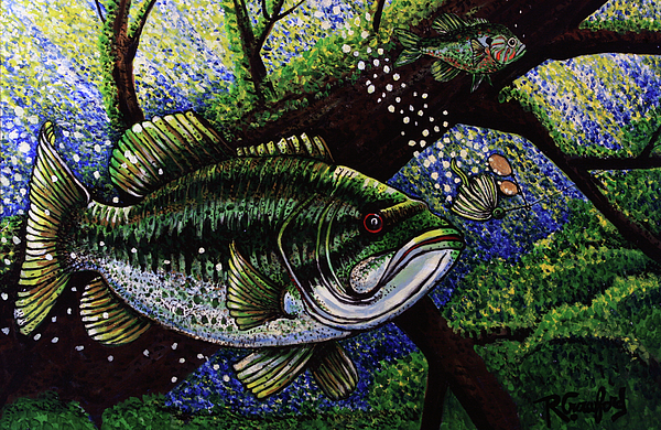 Bass Painting - The Big Bass by Bob Crawford