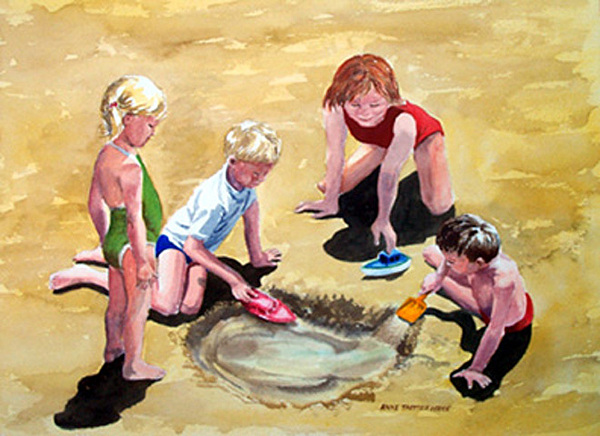 Children At Play Painting - The Big Dig by Anne Trotter Hodge