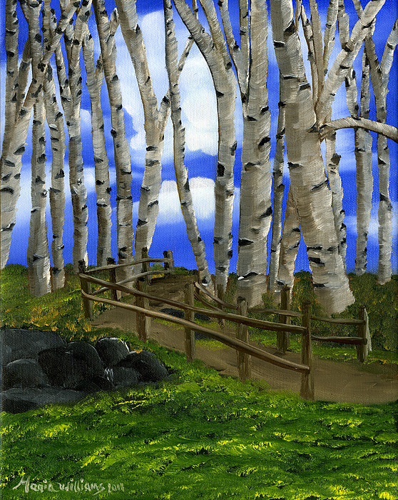 Birch Tree Painting - The Birch Tree Road by Maria Williams