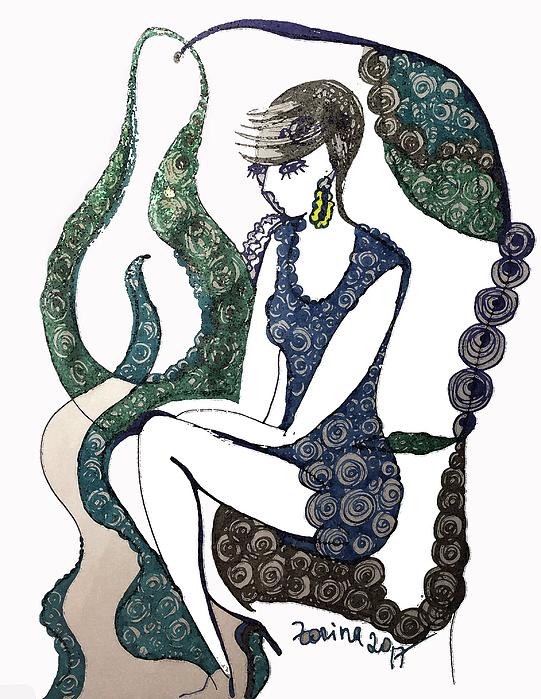 Woman Drawing - The Blue Dress by Zorina Kunkina