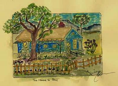 Country Cottage Print - The Blue House by John Durham