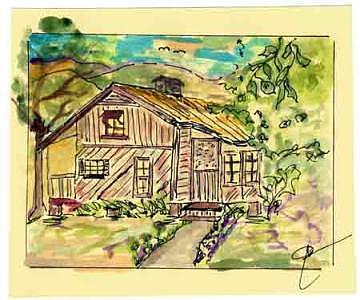 The Blue Sky House Print by John Durham