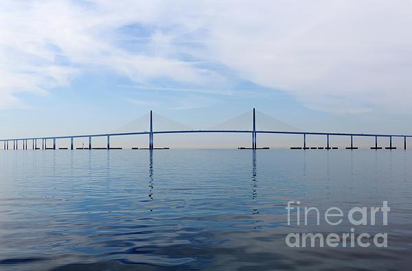 Bob Graham Sunshine Skyway Bridge Photograph - The Bob Graham Sunshine Skyway Bridge Tampa Bay by Louise Heusinkveld