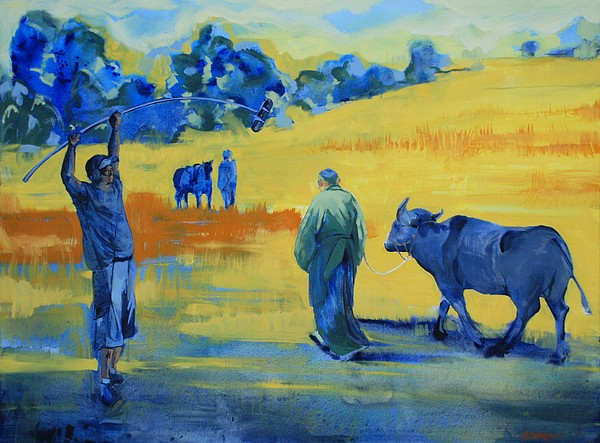 The Boom Man And The Buffalo Painting by Amy Bernays