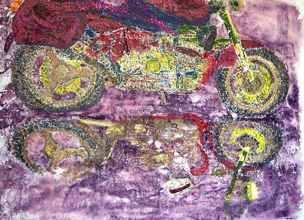 Monoprint Painting - The Boxer  by Saundra Lee York