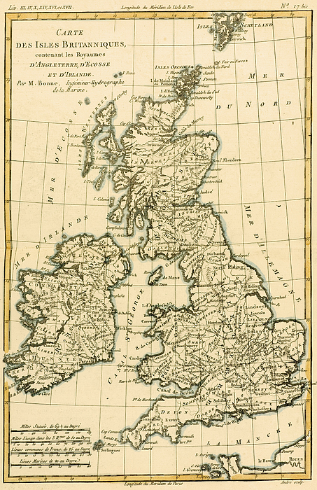 Maps Drawing - The British Isles by Guillaume Raynal