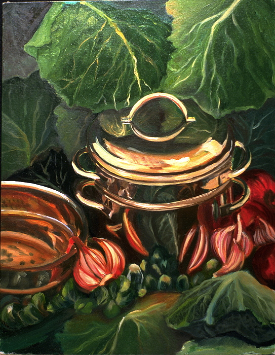 Still Life Painting - The Cabbage Pot by Patricia Reed
