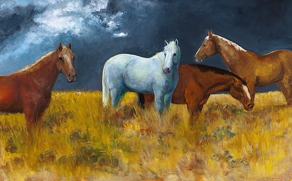Horses Painting - The Calm After The Storm by Frances Marino