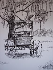 Old Carriage Print - The Carriage by Rose Wood