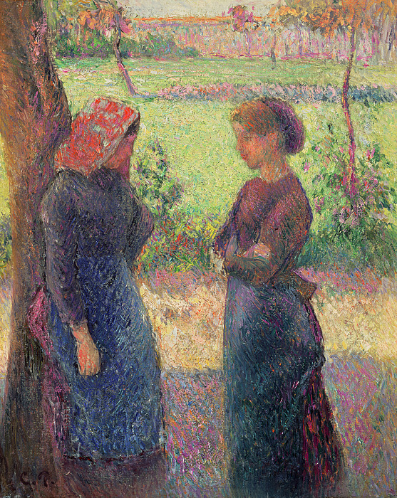 The Painting - The Chat by Camille Pissarro