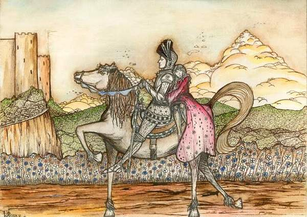 Knight Painting - The Chevalier And The Maiden by Michael Finucane