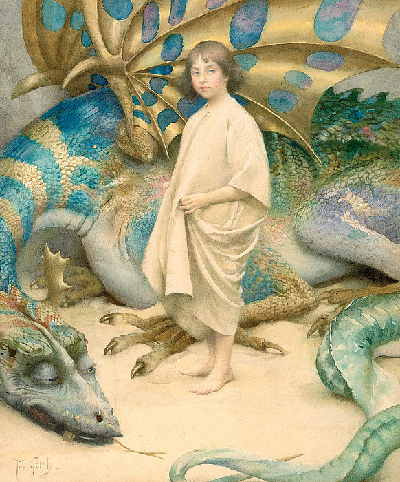 Dragon; Unafraid; Young Girl; Portrait; Fearless; Unaware; Danger; Victorian; Innocent; Monster; Dragon Painting - The Child In The World by Thomas Cooper Gotch