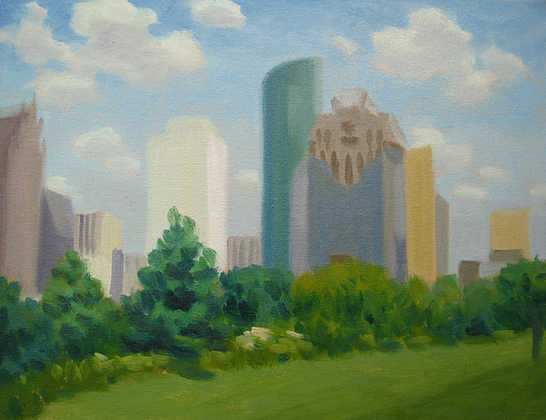 View Fron Ellinor Tinsly Park In Houston Painting - The City Stands Tall by Texas Tim Webb