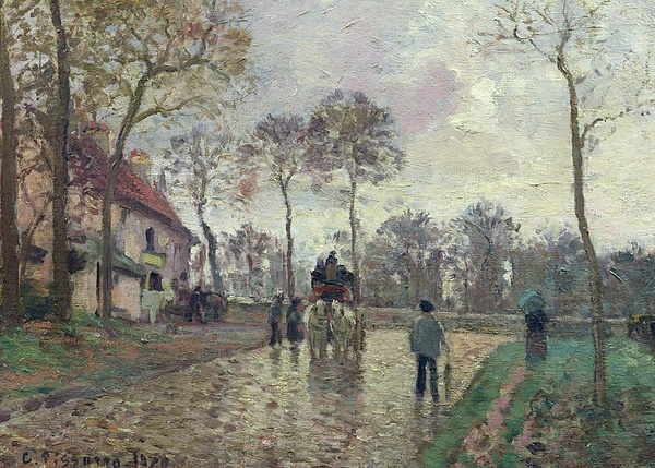 The Painting - The Coach To Louveciennes by Camille Pissarro