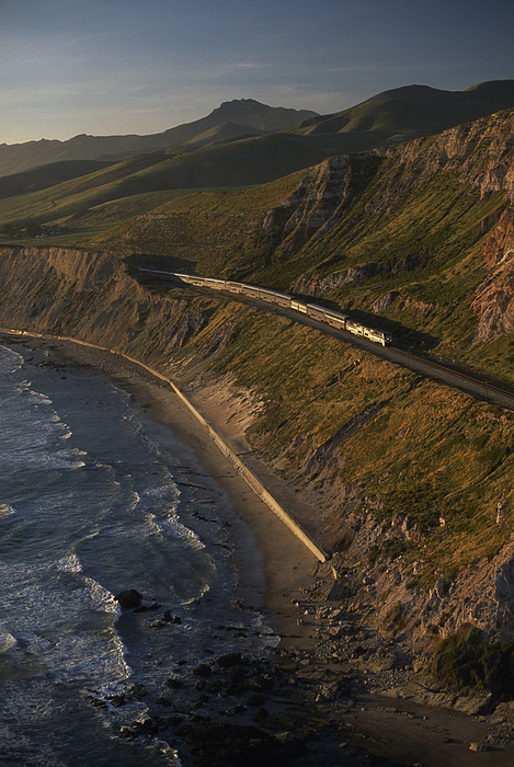 Outdoors Photograph - The Coast Starlight Train Snakes by Phil Schermeister