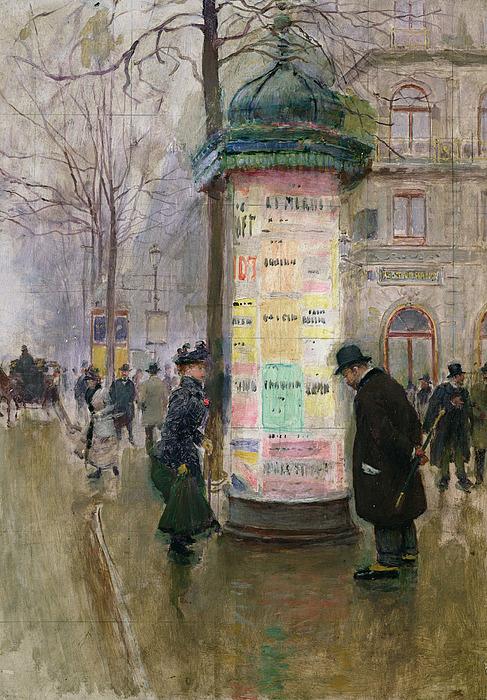 Jean Painting - The Colonne Morris by Jean Beraud