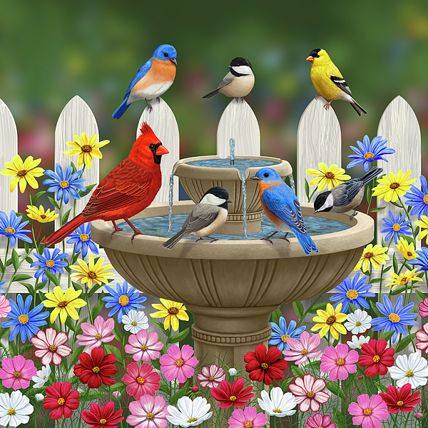 Birds Painting - The Colors Of Spring - Bird Fountain In Flower Garden by Crista Forest