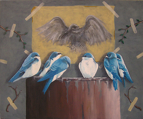 Birds Painting - The Committee by Avihai Cohen