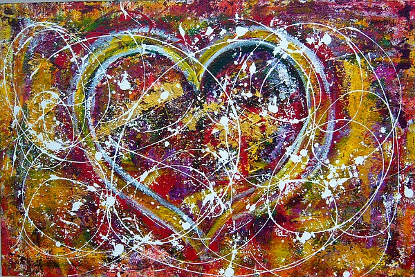Hearts Painting - The Dance by Rhiannon Marhi