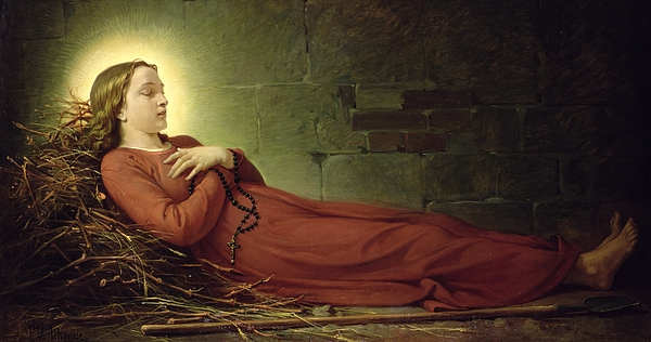 Rosary Painting - The Death Of Germaine Cousin The Virgin Of Pibrac by Alexandre Grellet