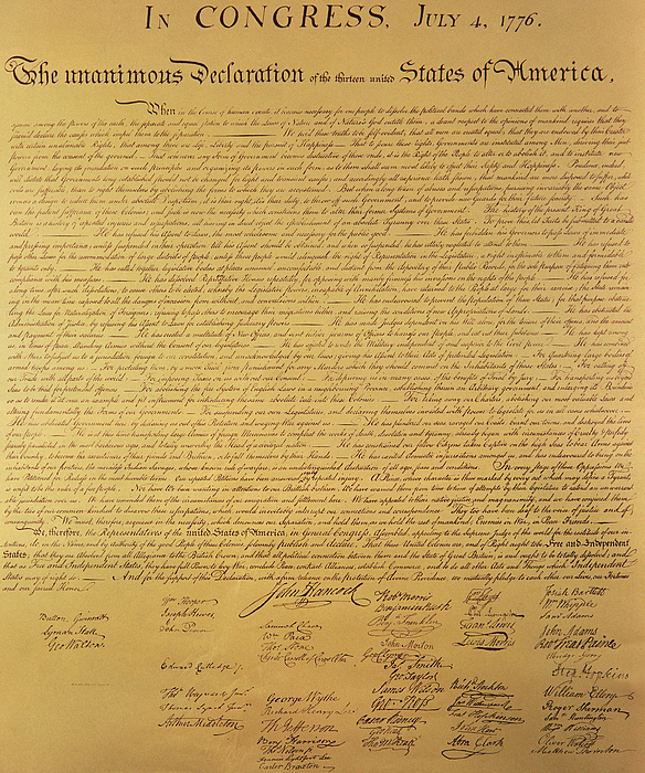 Signed Painting - The Declaration Of Independence by Founding Fathers