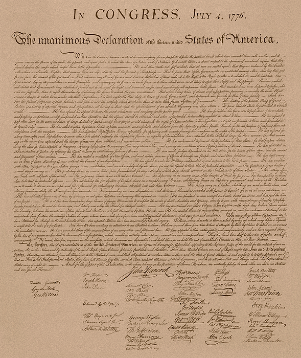 Declaration Of Independence Mixed Media - The Declaration Of Independence by War Is Hell Store