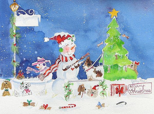 Christmas Cards Painting - The Dog Groomer by Suzy Pal Powell