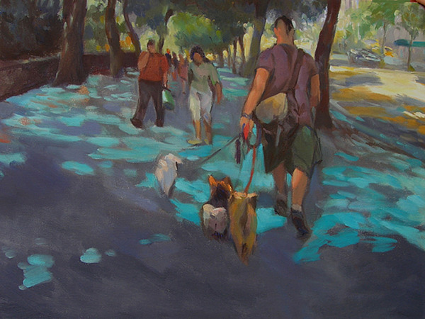 Dogs Painting - The Dog Walker by Merle Keller