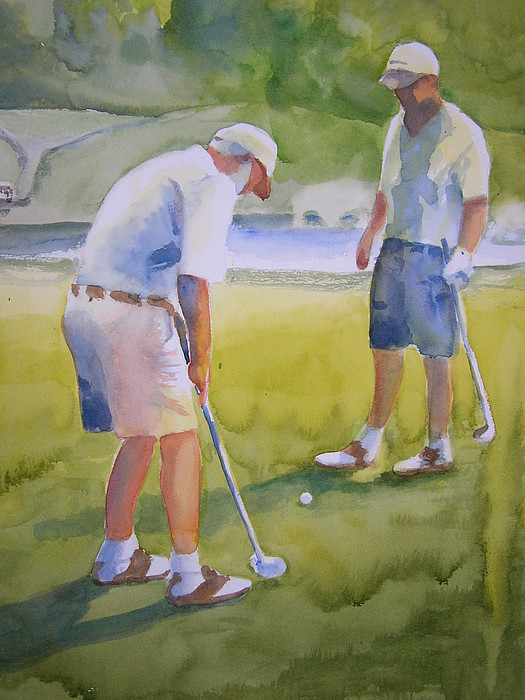 Golf Painting - The Dollar Bill by Cynthia Schanink