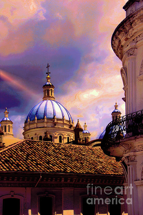 Domes Photograph - The Domes Of Immaculate Conception, Cuenca, Ecuador by Al Bourassa