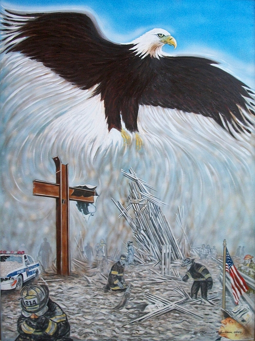 9/11 Painting - The Eagle Will Rise by Norman F Jackson