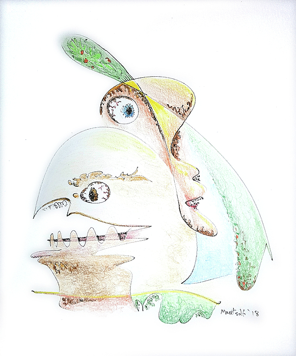 Colored Drawing - The Egg And I by Dave Martsolf