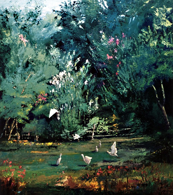 Landscape Painting - The Egrets Have Landed by Jimmie Trotter