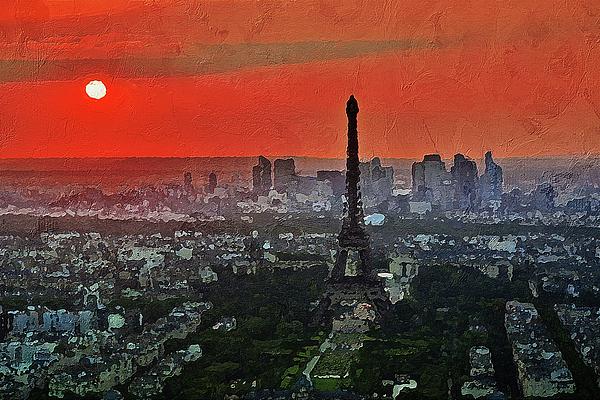 City Painting - The Eiffel Tower by PixBreak Art