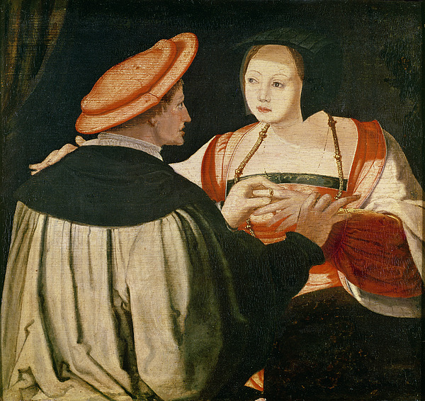 The Painting - The Engagement by Lucas van Leyden