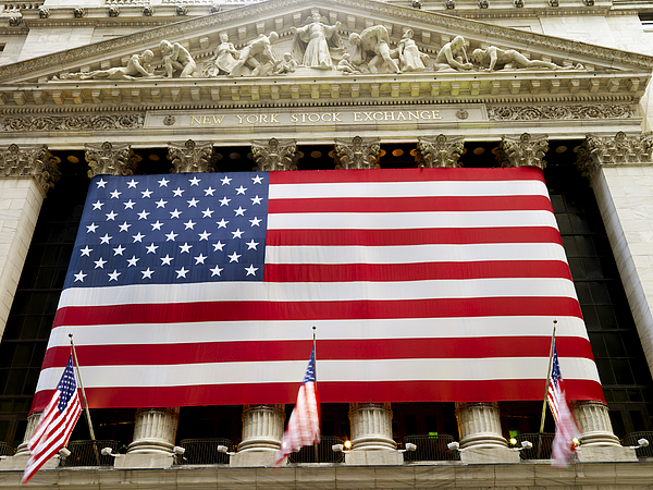Economy Photograph - The Facade Of The New York Stock by Justin Guariglia