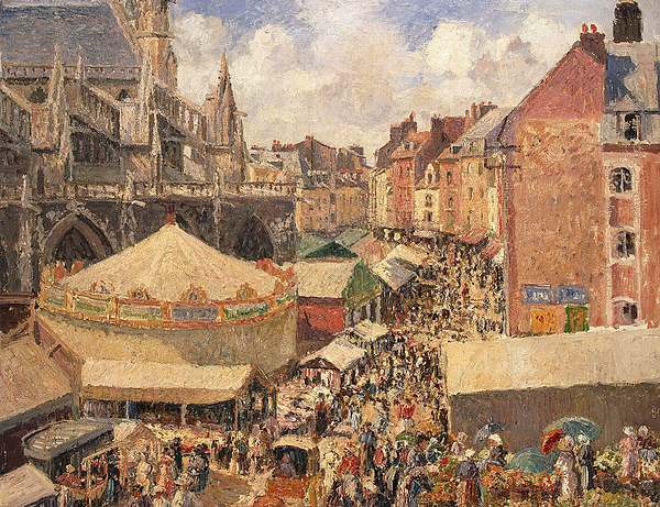 Camille Painting - The Fair In Dieppe by Camille Pissarro