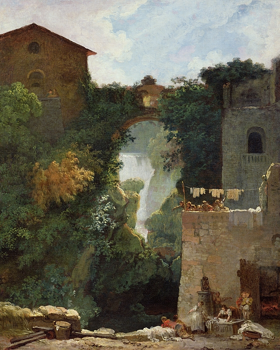 The Painting - The Falls Of Tivoli by Jean Honore Fragonard