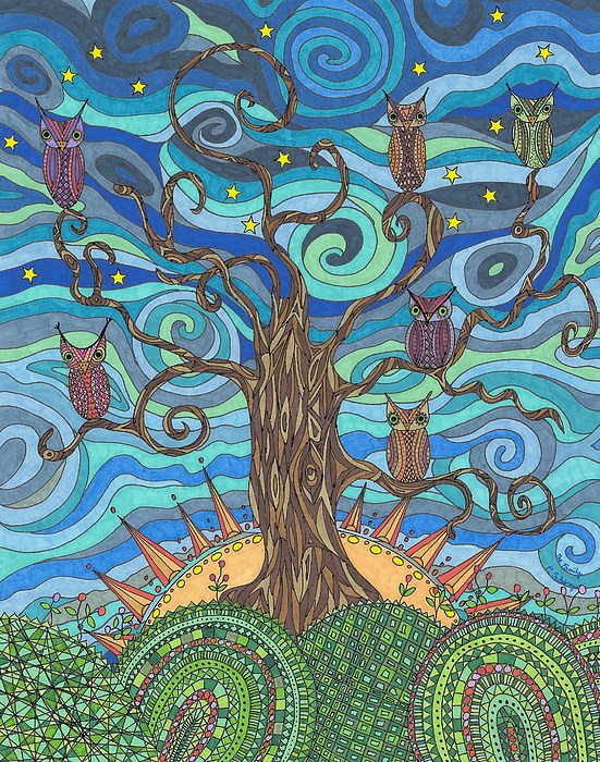 Owls Drawing - The Family by Pamela Schiermeyer