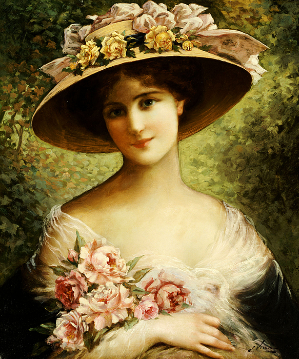 The Fancy Bonnet (oil On Canvas) By Emile Vernon (1872-1919) Rose Painting - The Fancy Bonnet by Emile Vernon