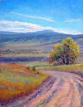 Pastel Painting - The Far Road by Janet Larsen